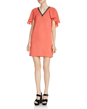 Maje Rysandre Crepe Flutter-Sleeve Dress