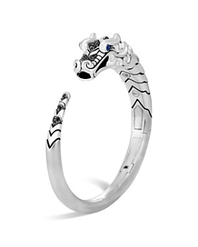 JOHN HARDY - Brushed Sterling Silver Naga Kick Cuff with Black Sapphire, Black Spinel and Blue Sapphire Eyes