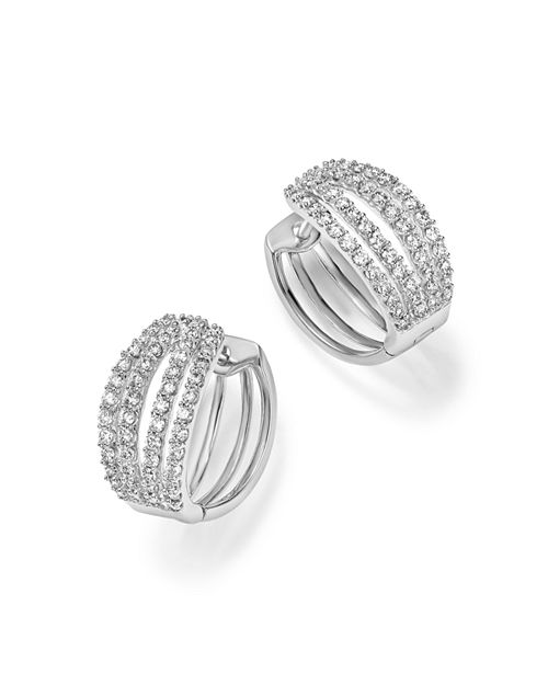 Bloomingdale's - Diamond Four Row Hoop Earrings in 14K White Gold, 1.0 ct. t.w. - 100% Exclusive