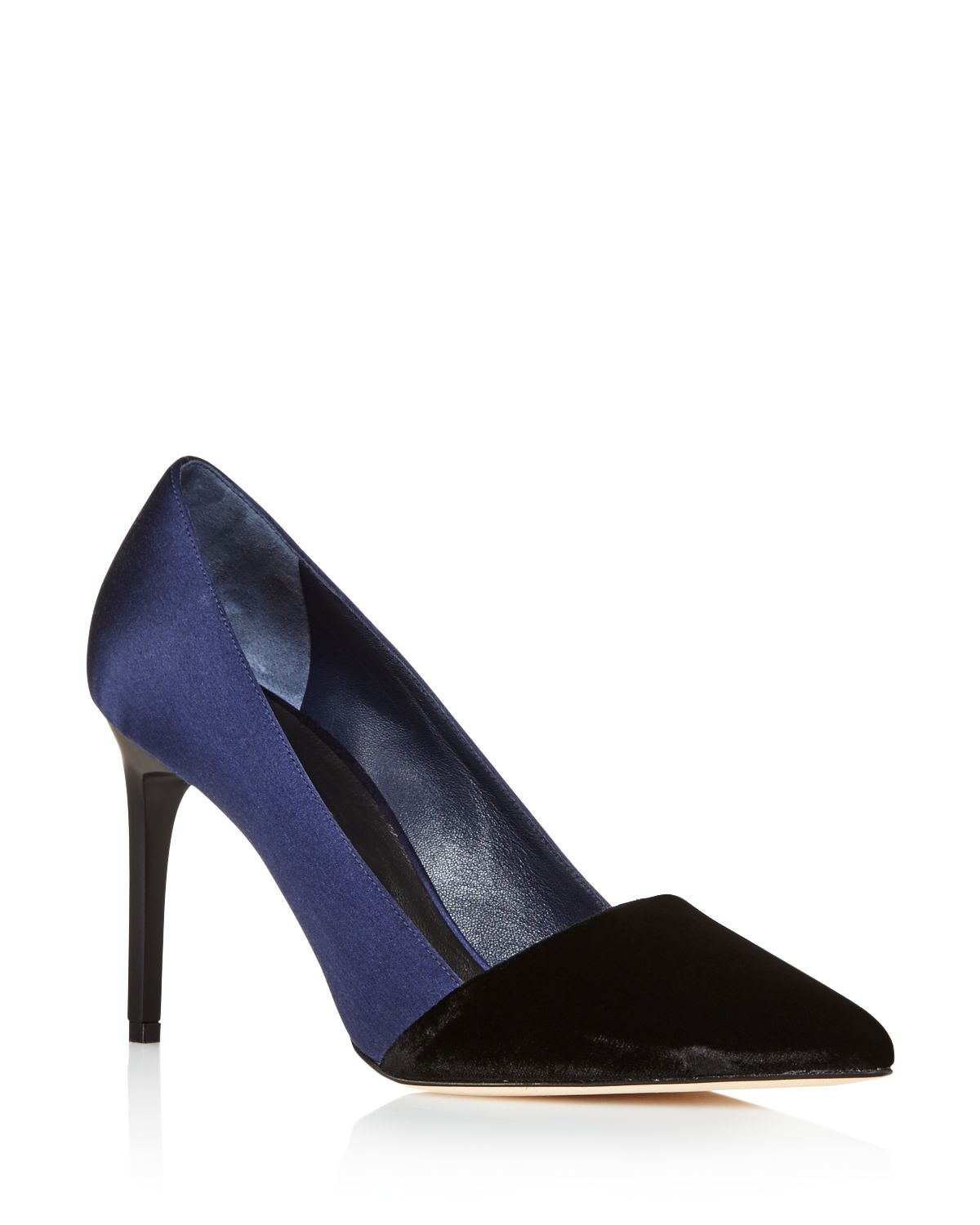 Oscar de la Renta Vik Velvet and Satin Color Block Pointed Toe Pumps