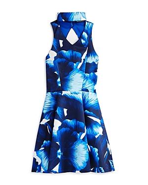 Miss Behave Girls' Floral Choker Scuba Dress - Big Kid