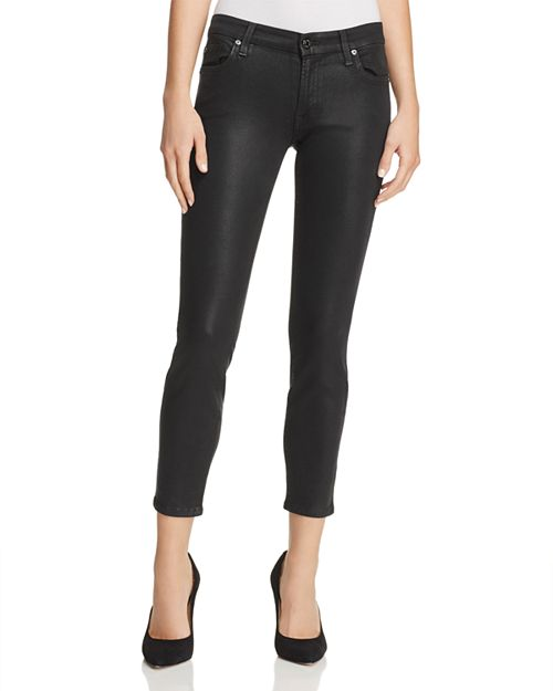 7 For All Mankind - Coated Ankle Skinny Jeans in Black Clean