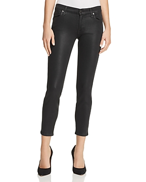 7 For All Mankind Coated Ankle Skinny Jeans in Black Clean