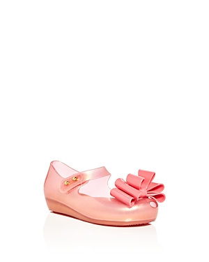 Mini Melissa Girls' Ultragirl Sweet Iii Metallic Bow Mary Jane Flats - Walker, Toddler