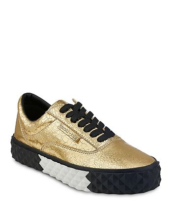 KENDALL and KYLIE - Women's Reign Crackled Metallic Lace Up Platform Sneakers