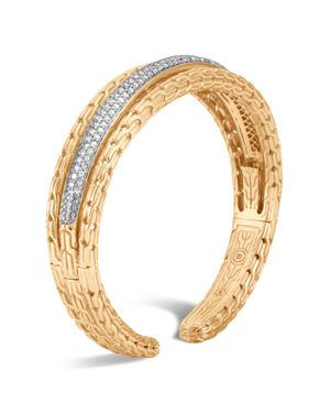 John Hardy 18K Yellow Gold Classic Chain Pave Diamond Small Kick Cuff
