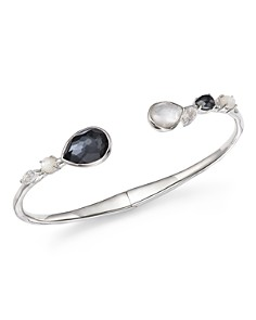 IPPOLITA - Sterling Silver Rock Candy® Hematite Doublet, Mother-of-Pearl Doublet and Clear Quartz Open Bangle in Piazza