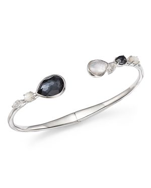 Ippolita Sterling Silver Rock Candy Hematite Doublet, Mother-of-Pearl Doublet and Clear Quartz Open