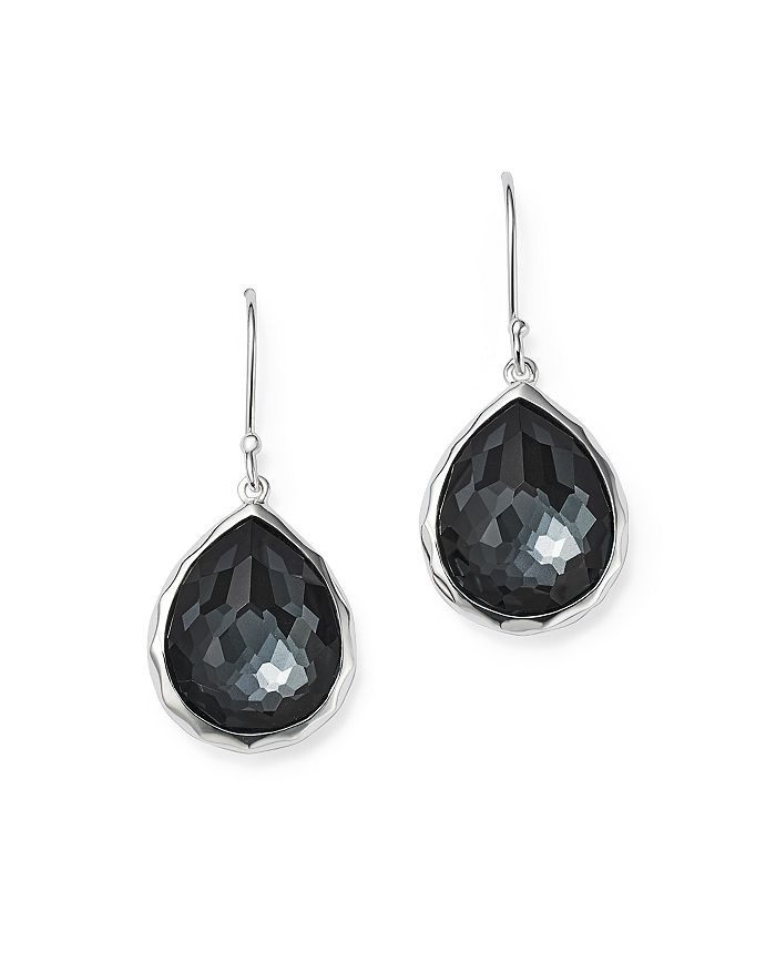 IPPOLITA - Sterling Silver Wonderland Hematite and Clear Quartz Doublet Mini Teardrop Earrings