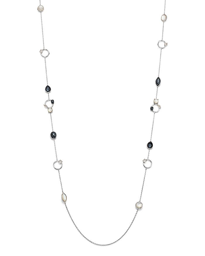 """IPPOLITA - Sterling Silver Rock Candy® Open Station Mother-of-Pearl Doublet, Hematite Doublet & Clear Quartz Necklace in Piazza, 40"""""""