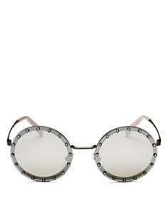 Valentino - Women's Mirrored Embellished Round Sunglasses, 53mm