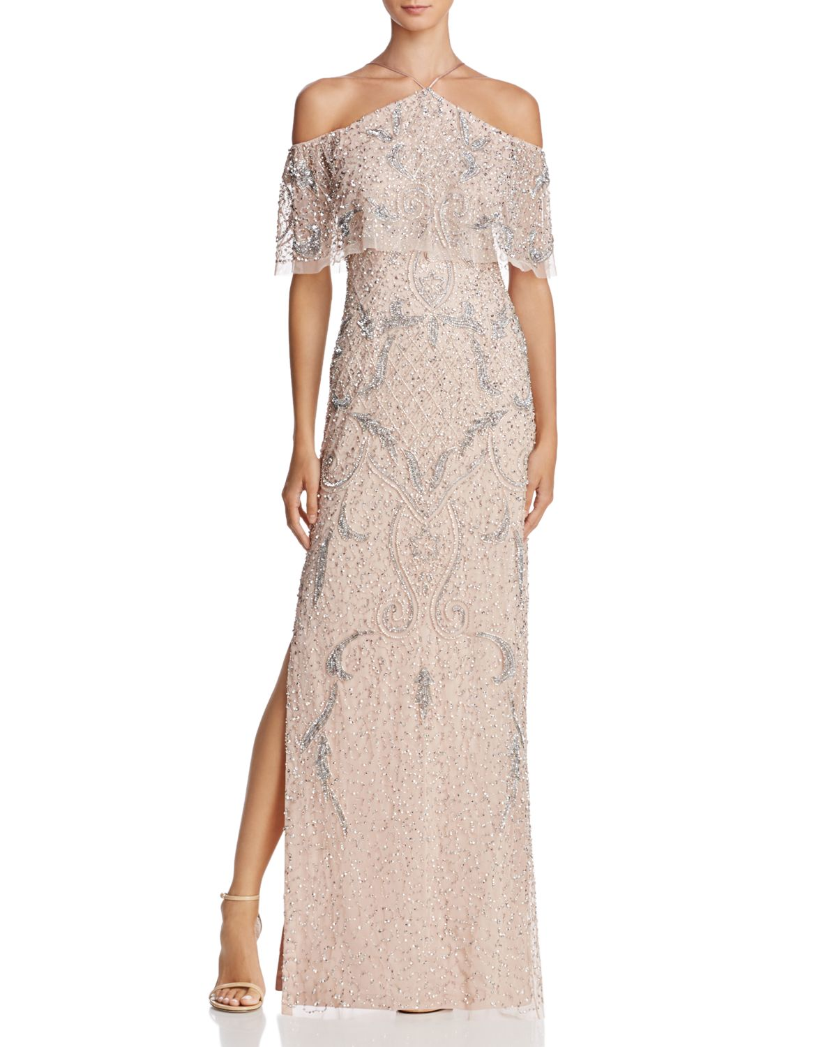 Cold Shoulder Beaded Gown   100 Percents Exclusive by Aidan Mattox
