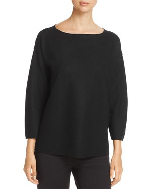 Eileen Fisher Drop Shoulder Wool Sweater