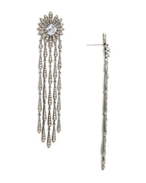 Nadri Sunburst Fringe Drop Earrings