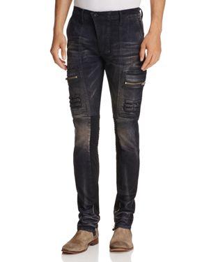 Prps Goods & Co. Cold Toe Super-Slim Fit Moto Jeans in Black