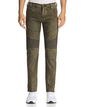 True Religion Rocco Moto Slim Fit Jeans in Coated Olive
