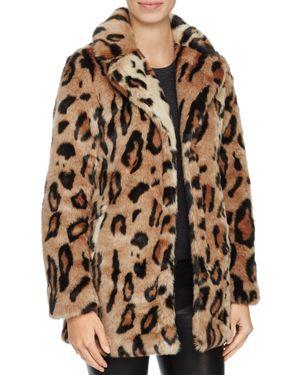 Louise Paris Leopard Print Faux Fur Coat - 100% Exclusive