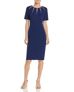 Adrianna Papell Spliced-Neckline Stretch Crepe Sheath Dress