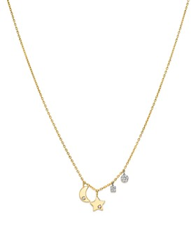 770e2bb1e24 Meira T - 14K White and Yellow Gold Diamond Mini Moon and Star Charm  Necklace