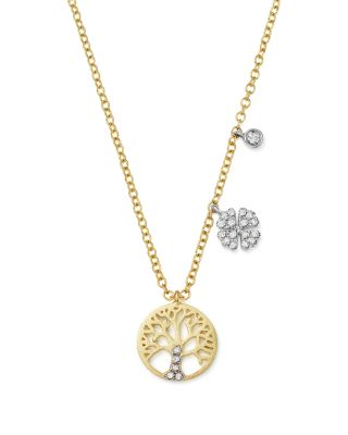 14K WHITE AND YELLOW GOLD DIAMOND TREE OF LIFE PENDANT NECKLACE, 16