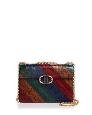 Tory Burch Gemini Link Chain Snake-Embossed Leather Shoulder Bag 2670656