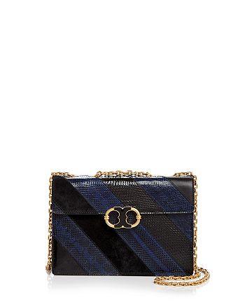 1d8fb3d1e1db Tory Burch Gemini Link Chain Snake-Embossed Leather Shoulder Bag ...