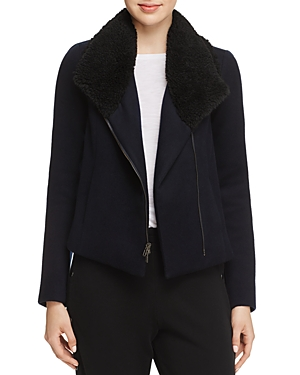 Vince Faux Shearling Collar Double-Faced Jacket