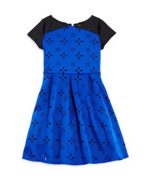 Us Angels Girls' Laser-Cutout Print Dress - Big Kid