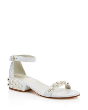 Stuart Weitzman Allpearls Leather Pearl Stud Ankle Strap Sandals