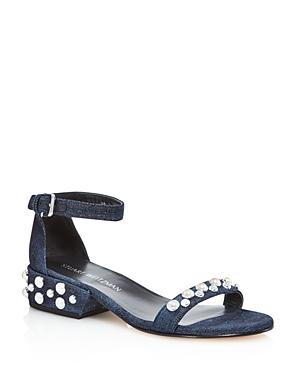 Stuart Weitzman Allpearls Denim Pearl Stud Ankle Strap Sandals