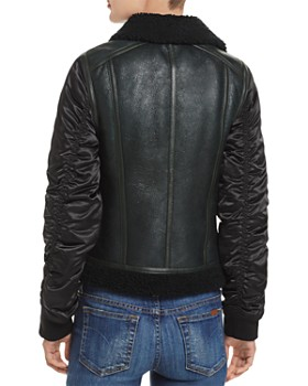 Andrew Marc - Tally Shearling Trim Mixed Media Jacket