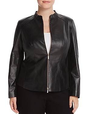 Lafayette 148 New York Plus Embla Seamed Leather Jacket