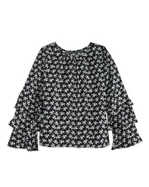 Aqua Girls' Floral Top with Tiered Ruffled Sleeves, Big Kid - 100% Exclusive