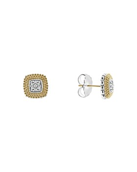 LAGOS - 18K Gold and Sterling Silver Diamond Lux Square Stud Earrings