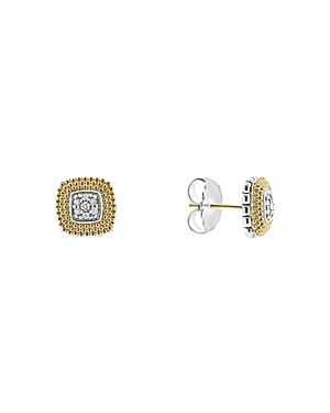 Lagos 18K Gold and Sterling Silver Diamond Lux Square Stud Earrings