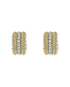 LAGOS - 18K Gold and Sterling Silver Diamond Lux Small Hoop Earrings