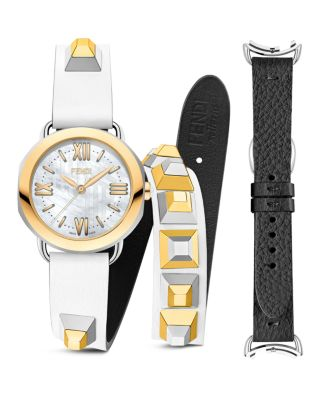 Selleria White Mother-Of-Pearl Leather Strap Watch Set in White/Gold