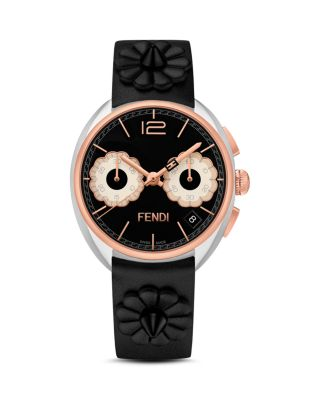 Momento Flowerland Stainless Steel Chronograph Leather Strap Watch, Black/ Silver/ Rose Gold
