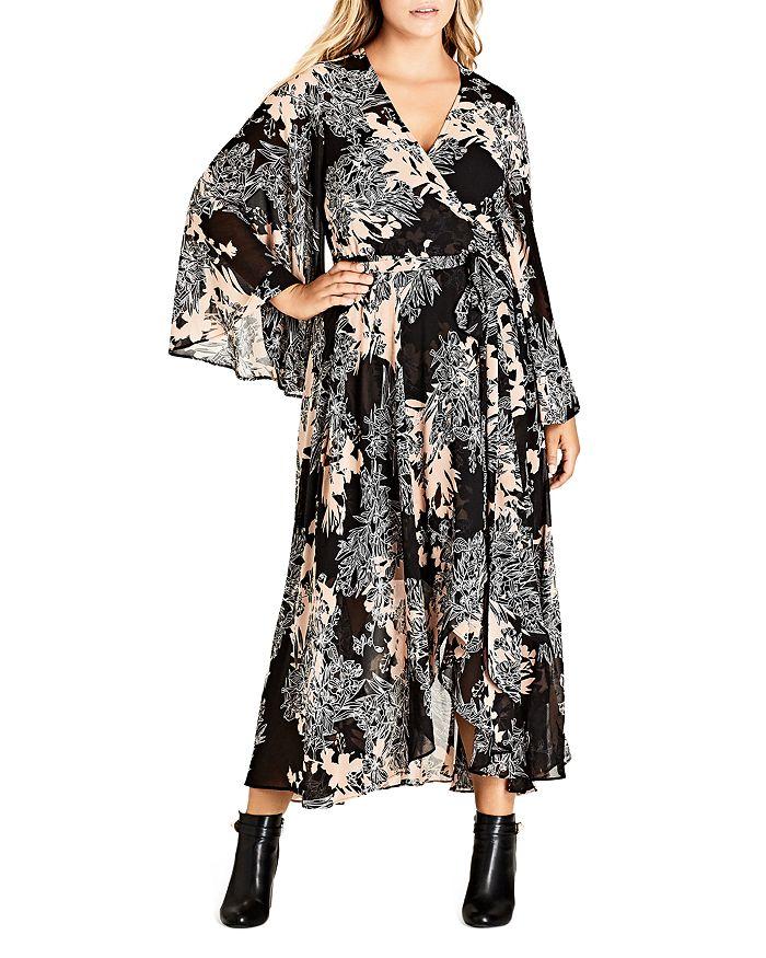 012f9fc01 City Chic Plus City Chic Shadow Floral Print Maxi Wrap Dress ...