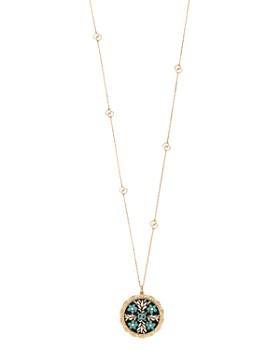 a9cd2b6f4 Gucci - 18K Yellow Gold Blue and Black Icon Blooms Necklace, 31.5