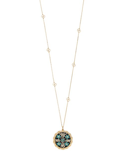 """Gucci - 18K Yellow Gold Blue and Black Icon Blooms Necklace, 31.5"""""""