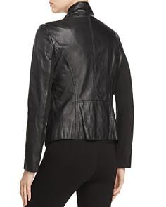 Donna Karan - Draped Collar Leather Jacket