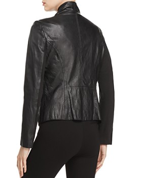 Donna Karan - Draped Collar Leather Jacket