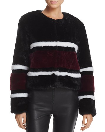$Sunset + Spring Striped Faux Fur Jacket - 100% Exclusive - Bloomingdale's