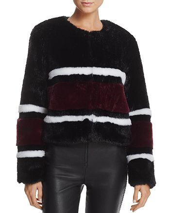Sunset & Spring - Striped Faux Fur Jacket - 100% Exclusive