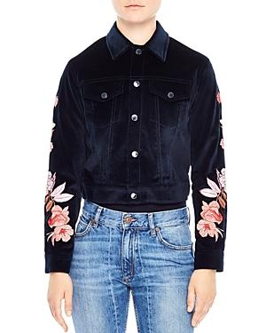 Sandro Cylia Cropped & Embroidered Velvet Jacket