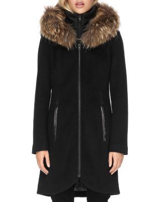 SOIA AND KYO Charlena Fur Trim Coat in Black