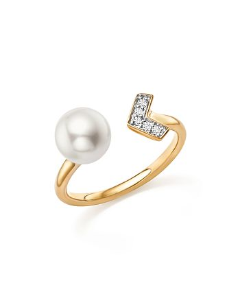 Bloomingdale's - Cultured Freshwater Pearl and Diamond Arrow Bypass Ring in 14K Yellow Gold - 100% Exclusive