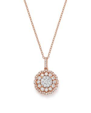 Diamond Flower Burst Pendant Necklace in 14K Rose Gold, .90 ct. t.w. - 100% Exclusive