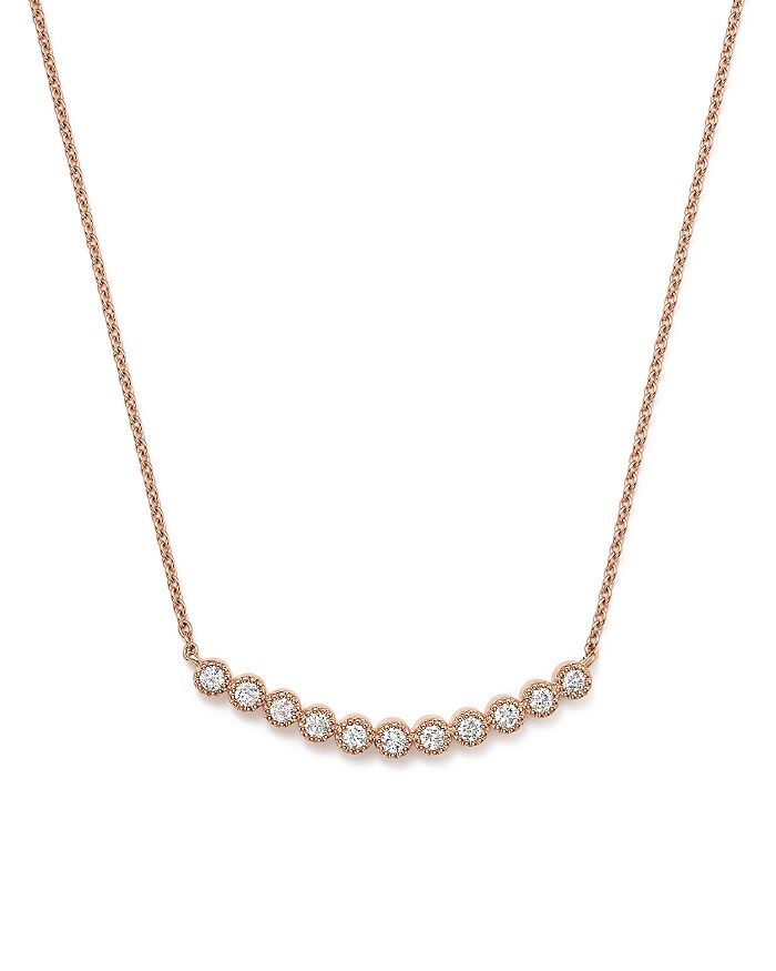 Bloomingdale's - Diamond Curved Milgrain Bezel Pendant Necklace in 14K Rose Gold, .25 ct. t.w. - 100% Exclusive